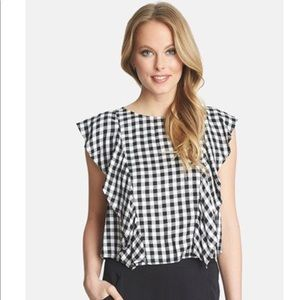 1. State Black\White Ruffled Gingham Top